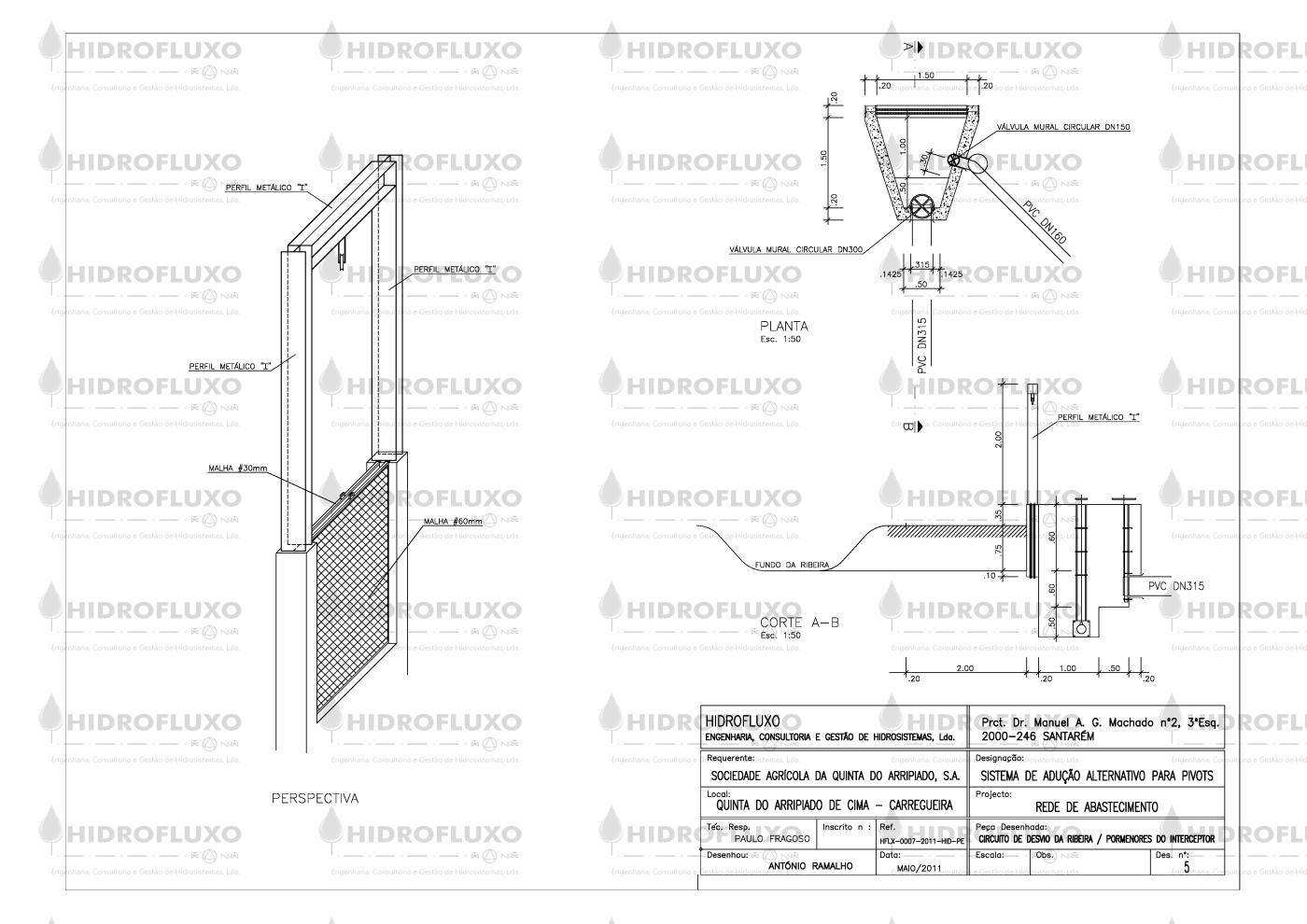 Desenho de Pormenor de Filtro Mural de Deslocamento Vertical