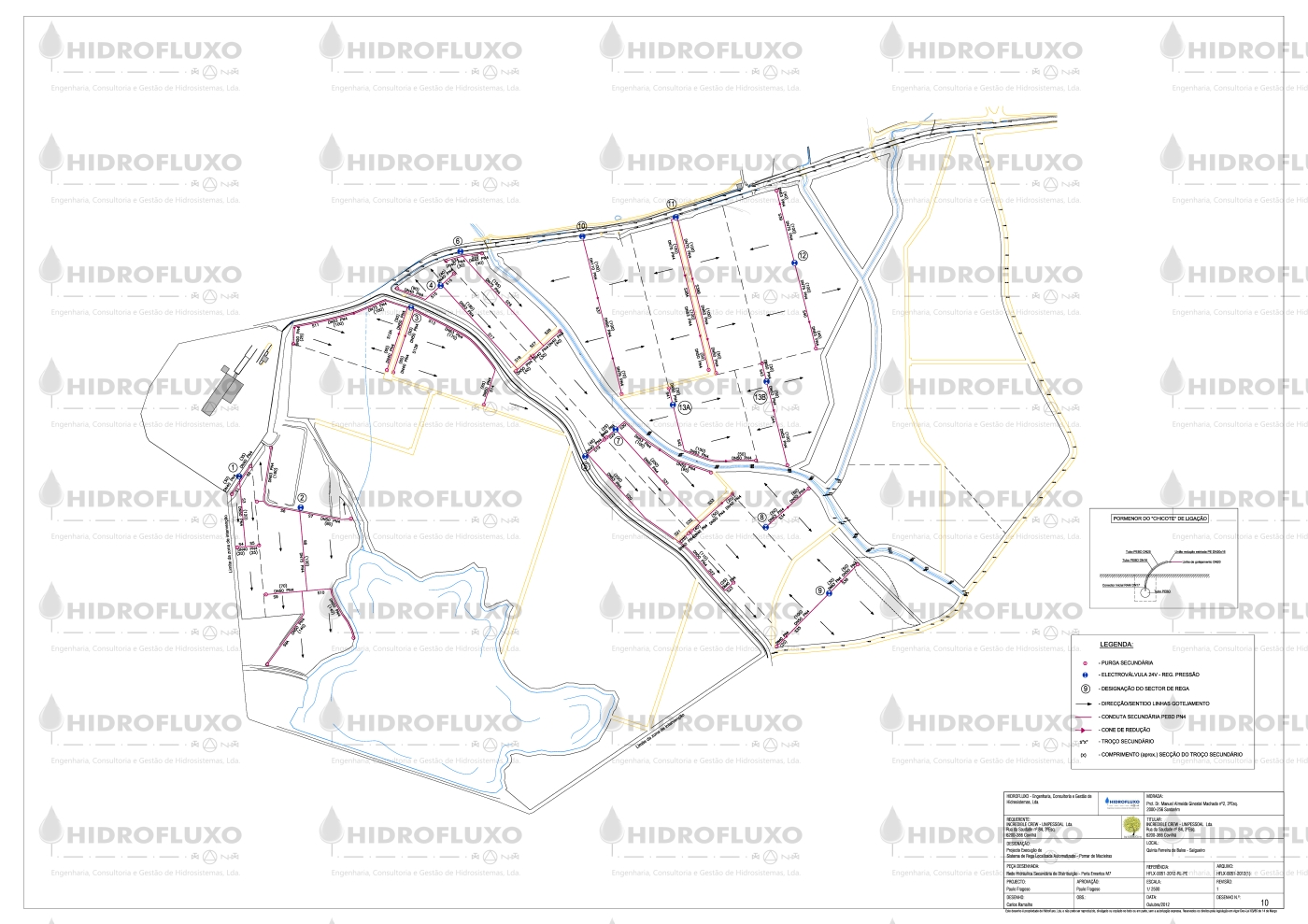Planta de Rede Secundária de Distribuição em Sistema de Rega Localizada