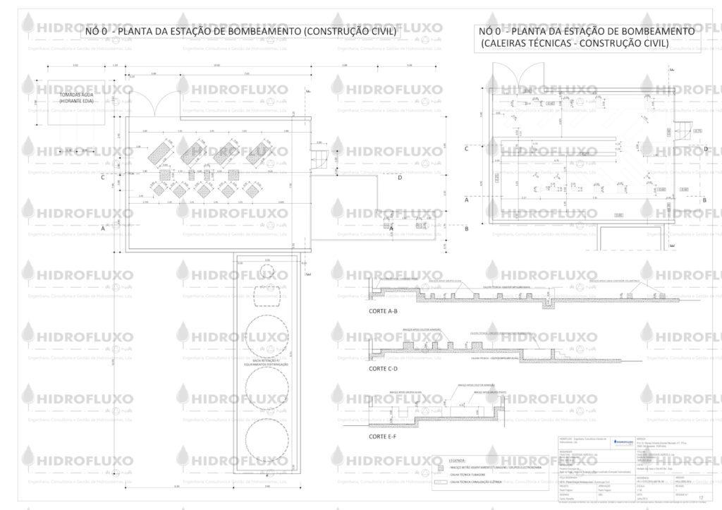 Estação Bombeamento - Casa de Máquinas - Planta de Construção